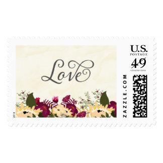Watercolor Flowers Love Postage Stamp