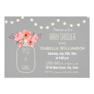 Watercolor Flowers Mason Jar Baby Shower Card