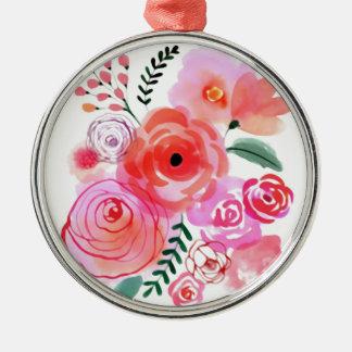 Watercolor Flowers Metal Ornament