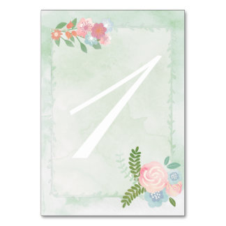 Watercolor Flowers, Mint Green Doublesided Table Card