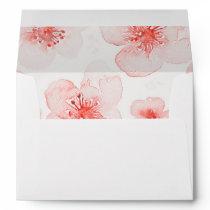 watercolor flowers modern pink wedding envelope