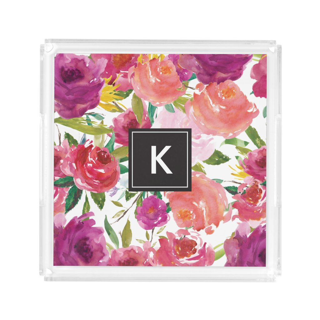 """Watercolor Flowers Monogram Acrylic Vanity Tray 8.125"""" x 8.125"""" x 1.7"""" Other Sizes Available"""