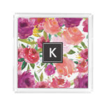 Watercolor Flowers Monogram Acrylic Vanity Tray