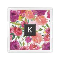 Watercolor Flowers Monogram Acrylic Vanity Tray