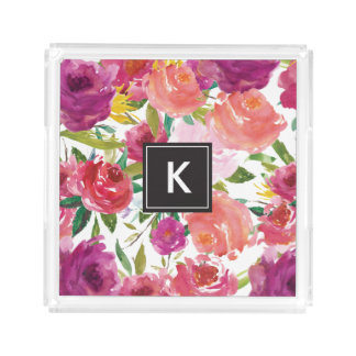 Watercolor Flowers Monogram Acrylic Vanity Tray Square Serving Trays