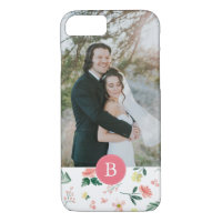 Watercolor Flowers + Monogram iPhone 7 Case