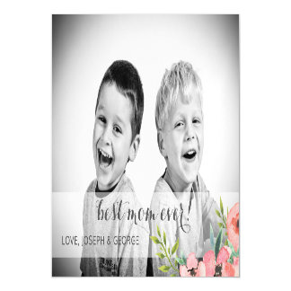 Watercolor Flowers Mothers Day Photo Card