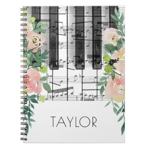 watercolor flowers music piano notebook