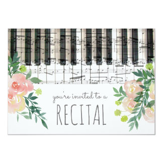 watercolor flowers music recital card