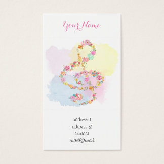 watercolor flowers music treble clef business card
