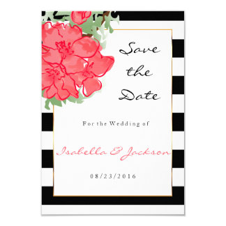 Watercolor Flowers on Black and White Stripes Card