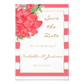 Watercolor Flowers on Coral and White Stripes Card