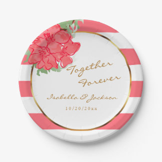 Watercolor Flowers on Coral and White Stripes Paper Plate
