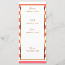 Watercolor Flowers on Coral & White Stripes - Menu