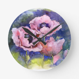 Watercolor flowers pink poppy illustration flowers round clock