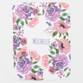 Watercolor Flowers Pink Violet Floral Leaves Chic Baby Blanket