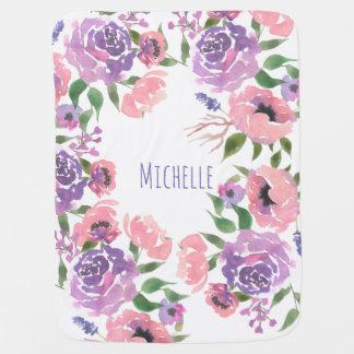 Watercolor Flowers Pink Violet Floral Leaves Chic Baby Blanket