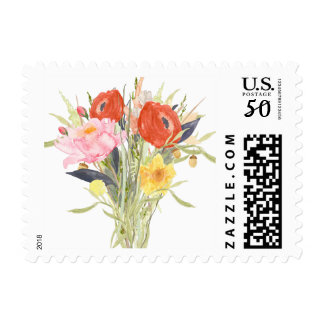 Watercolor Flowers Postage