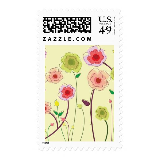 Watercolor Flowers Postage Stamp