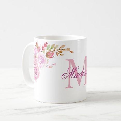 Watercolor Flowers Purple Custom Monogram Name Coffee Mug