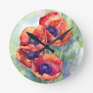 Watercolor flowers red poppy illustration flowers round clock