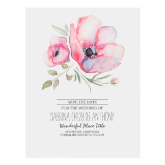 Watercolor Flowers Romantic Save the Date Postcard