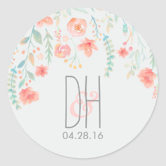 Watercolor Flowers Romantic Wedding Classic Round Sticker