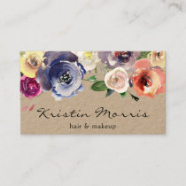 Watercolor Flowers Roses Soft Feminine Floral Business Card