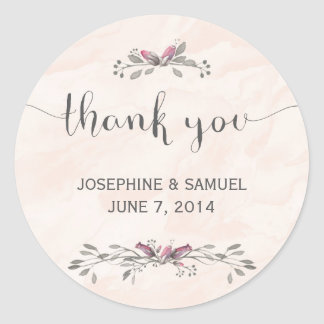 Watercolor Flowers Round Stickers
