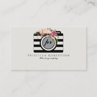 Watercolor flowers striped camera business card