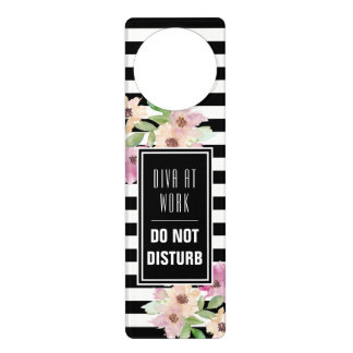 Watercolor Flowers & Stripes Door Hanger