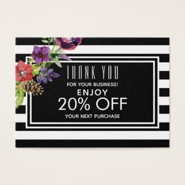 Professional Business Watercolor Flowers & Stripes Holiday Discount Business Card
