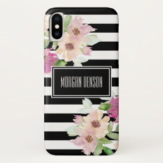 Watercolor Flowers & Stripes iPhone X Case