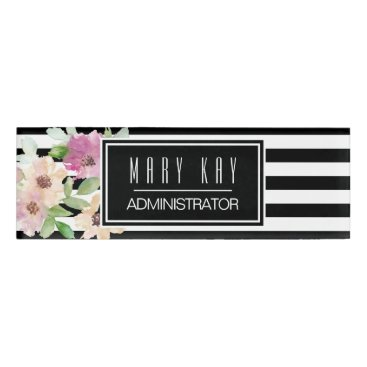 Professional Business Watercolor Flowers & Stripes Name Tag