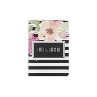 Watercolor Flowers & Stripes Passport Holder