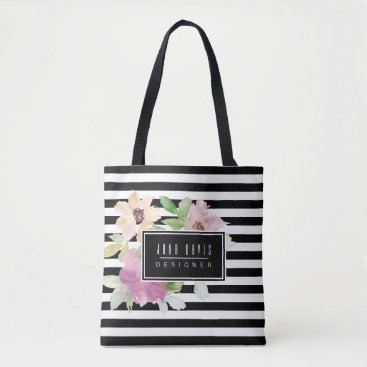 Professional Business Watercolor Flowers & Stripes Tote Bag