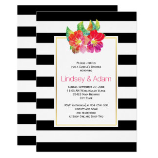 Watercolor flowers, stripes wedding couples shower card