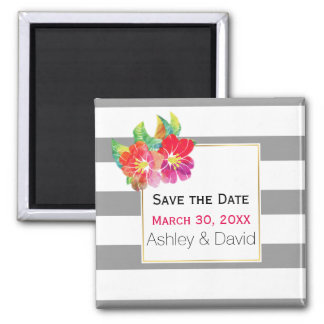 Watercolor flowers, stripes wedding Save the Date Magnet