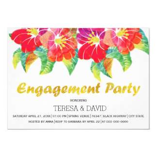 Watercolor flowers summer wedding engagement party card