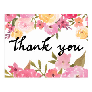 Watercolor Flowers Thank You Wedding Typography Postcard