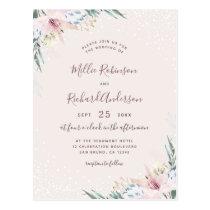Watercolor Flowers & Typography Wedding Invitation Postcard