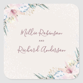 Watercolor Flowers & Typography Wedding Square Sticker
