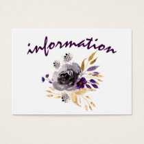 Watercolor Flowers Ultraviolet Wedding Business Card