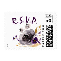 Watercolor Flowers Ultraviolet Wedding Postage