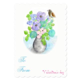 Watercolor flowers Valentine's Love invitation. Card