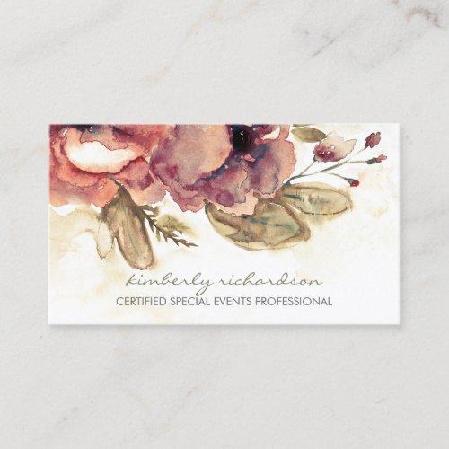 Watercolor Flowers Vintage Maroon Elegant Business Card