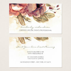 Watercolor Flowers Vintage Maroon Elegant Business Card
