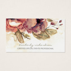 Watercolor Flowers Vintage Maroon Elegant Business Card at Zazzle