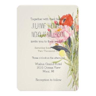 Watercolor Flowers Wedding Card