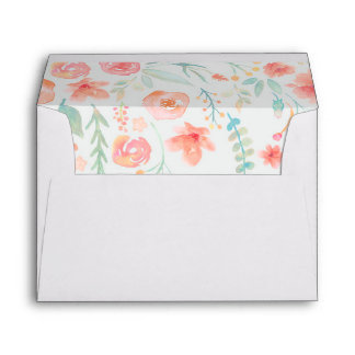 watercolor flowers wedding envelope
